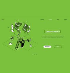green energy - line design style isometric web vector image