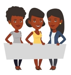 Group of young women holding blank board vector