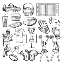 Hand drawn American Football elements vector image