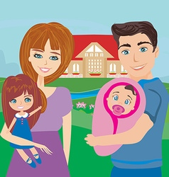 Happy family in nature vector