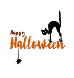 happy halloween party title logo template spider vector image