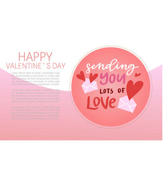 happy valentines day lettering with cartoon red vector image