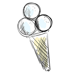 ice cream drawing on white background vector image