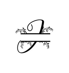 Initial j decorative plant monogram split letter vector