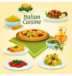 Italian cuisine national dishes for menu design vector image