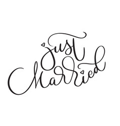 Just married text on white background hand drawn vector