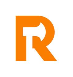 Letter r axe logo design template elements vector