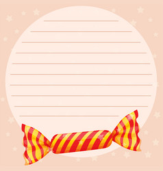 Line paper template with sweet candy vector