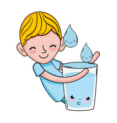 Little boy with water glass kawaii character vector
