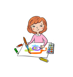 little girl draws paints vector image
