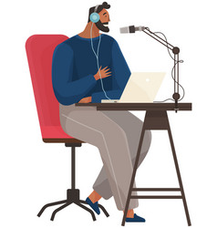 man records live podcast broadcasts online using vector image