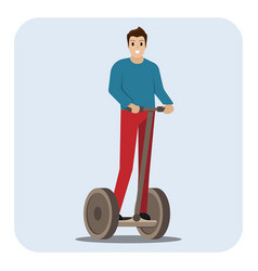 man riding electric scooter vector image