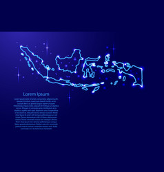 Map indonesia from the contours network blue vector