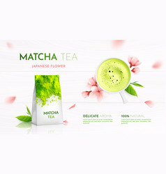 Matcha tea advertising background vector