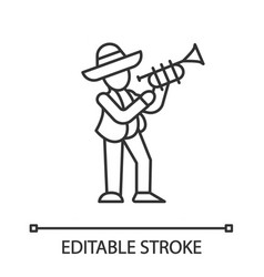 Mexican with trumpet linear icon latin musician vector