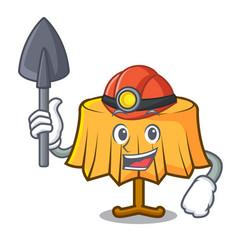 Miner table cloth mascot cartoon vector