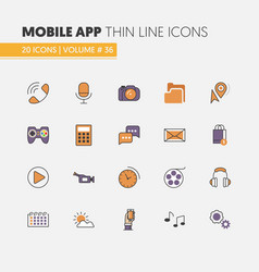 mobile application linear thin line icons vector image