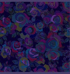 Moody florals seamless colorful pattern with dark vector