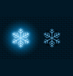 neon light sign snowflake blue glowing neon vector image