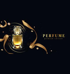 Perfume bottle and gold ribbon on black background vector