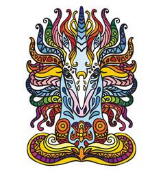 Portrait doodle unicorn vector