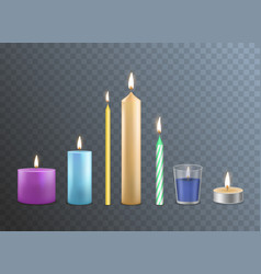 realistic detailed 3d candles set vector image