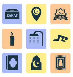 Religion icons set with islam namaz ghusl and vector