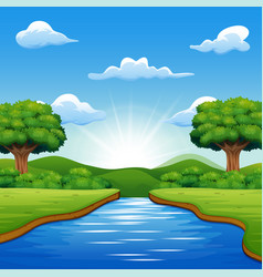 river cartoons in the middle beautiful natural sce vector image