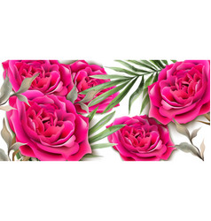 roses card realistic beautiful floral decor palm vector image