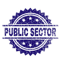 Scratched textured public sector stamp seal vector