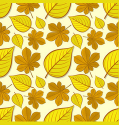seamless pattern with chestnut and linden leaves vector image