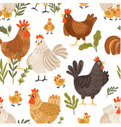 seamless pattern with cute roosters chickens vector image