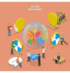 Secure messaging isometric flat concept vector image
