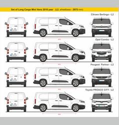 Set long l2 cargo mini vans 2018 vector