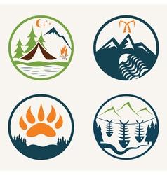 Set vintage summer camp labels vector