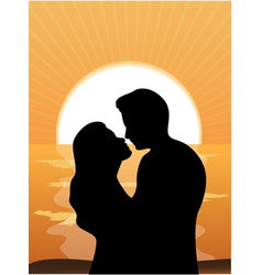 silhouettes loving couple at sunset vector image