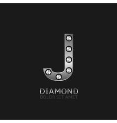 Silver J letter vector image