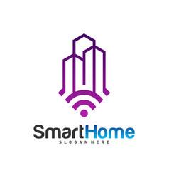 smart city tech logo city net logo concept wifi vector image