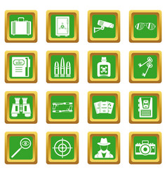 Spy tools icons set green vector