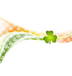 St Patrick Day wavy background with Irish colors vector image