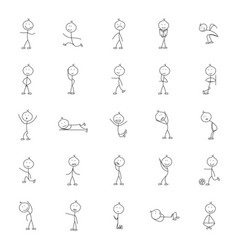 Stick man icon outline style vector