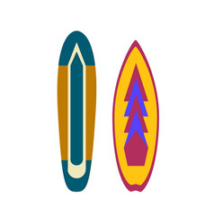 surfboards colorful surfing equipment with trendy vector image