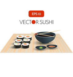 Sushi with Soy Sauce Japan Food Menu Restaurant vector image