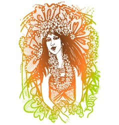 Tahiti girl vector image