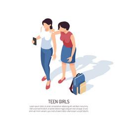 teenage girls isometric background vector image