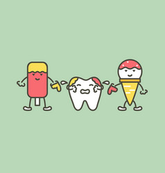 teeth are smudged from ice cream decay tooth vector image