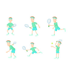 tennisman icon set cartoon style vector image