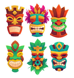 tiki masks tribal wooden totems in hawaiian style vector image