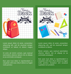 time back to school posters rucksack on leaflet vector image