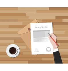 tos terms of service hand sign a paper document vector image